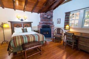 zion lodge cabin bedroom interior