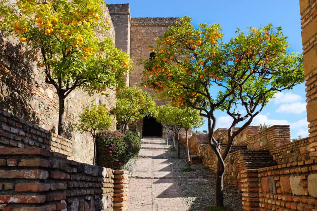 Steps towards a Moorish palace in Malaga called Alcazaba.