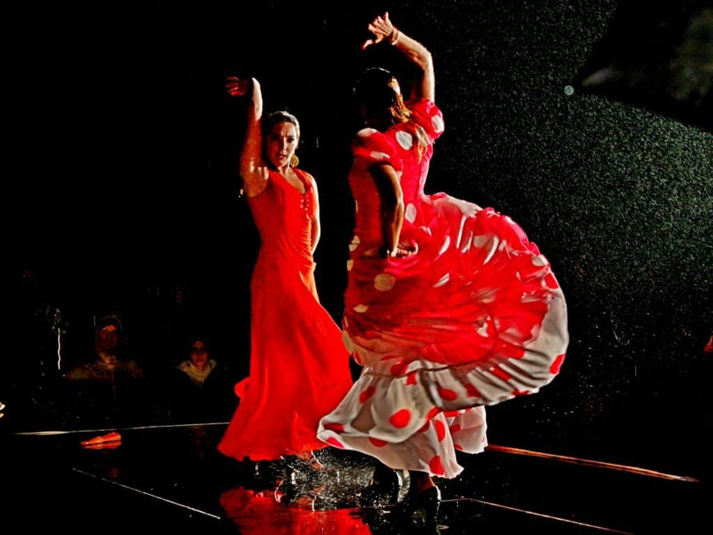 A Flamenco show with dancers in the rain