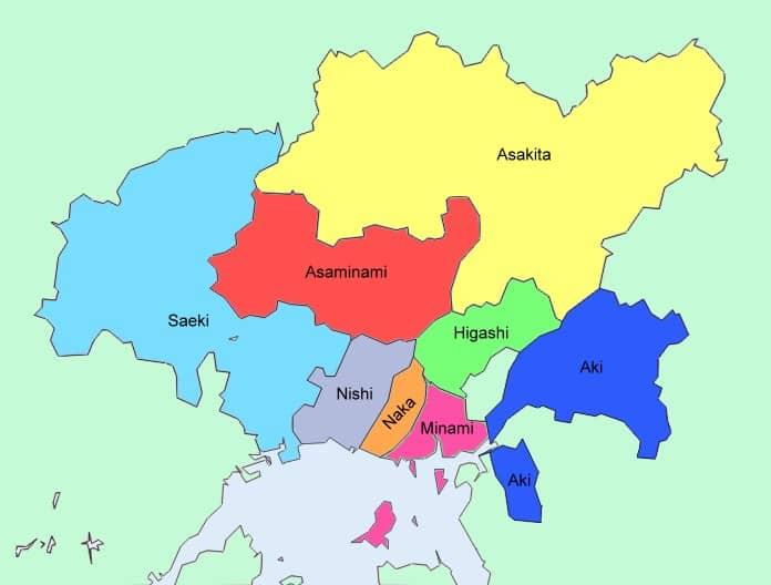 Colored map of the six wards of Hiroshima.
