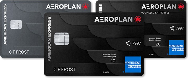 all 3 new american express aeroplan cards stacked with the reserve card in front