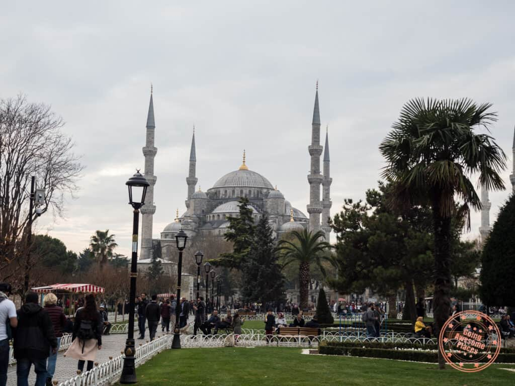 blue mosque walkway view from the park