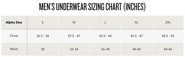 exofficio mens underwear sizing chart
