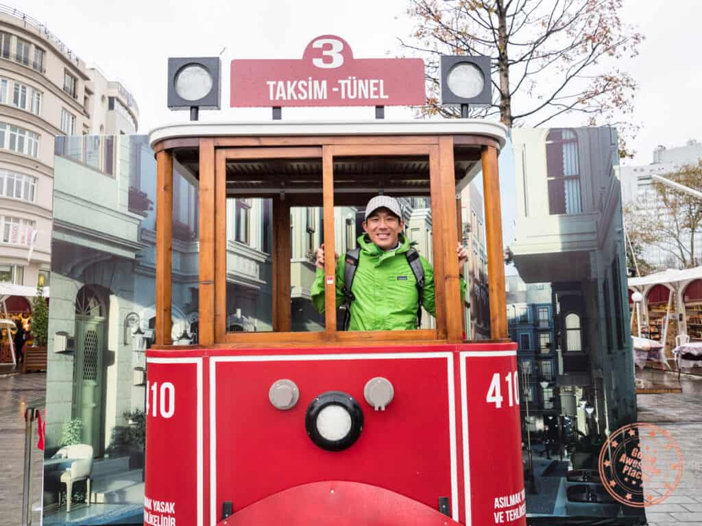 will standing in fake tram at taksim square