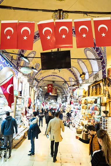 turkey flags hanging in the grand bazaar and look down the alley