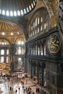 hagia sophia mosque interior view from the second level balcony