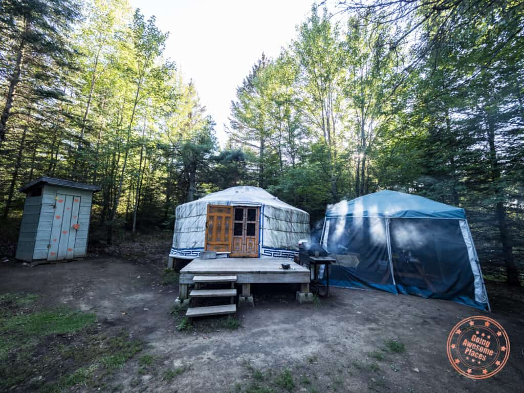 nature's harmony mongolian yurt site with compost toilet and gazebo in the ontario forest