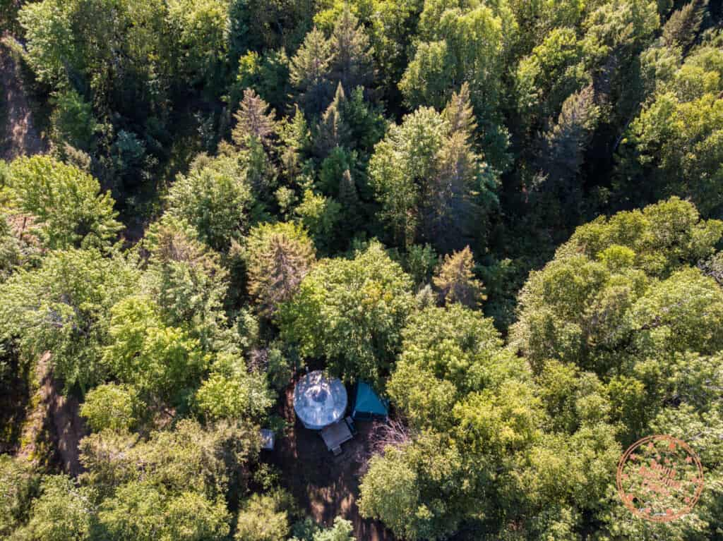 mongolian yurt aerial view within the forest