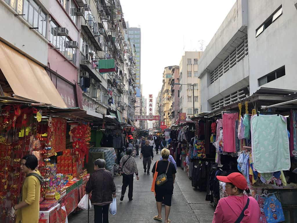 local nelson street market in mong kok with various stalls
