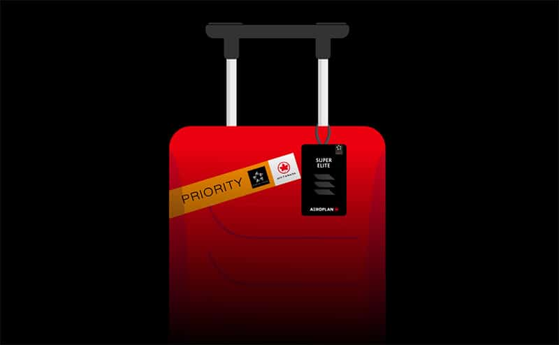 super elite luggage tag for new aeroplan on red suitcase and priority sticker over it in a black background