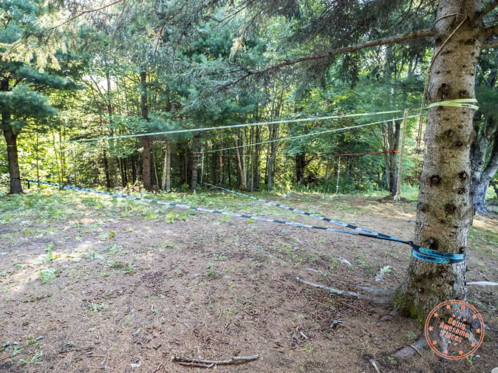 slack line set up at nature's harmony