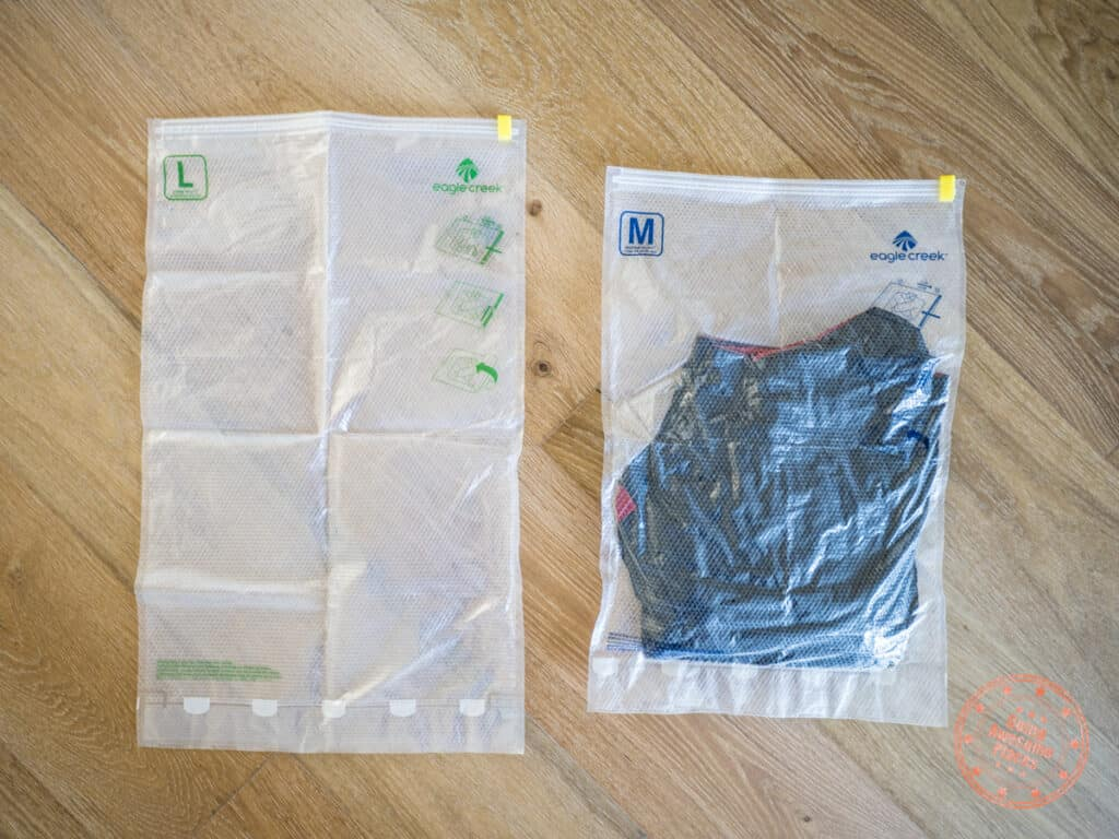 large compression sac and medium version on the right with a compressed jacket