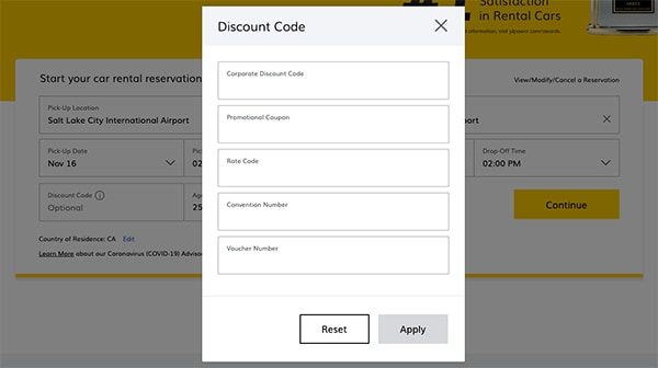 how to enter cdp codes when booking hertz car rental