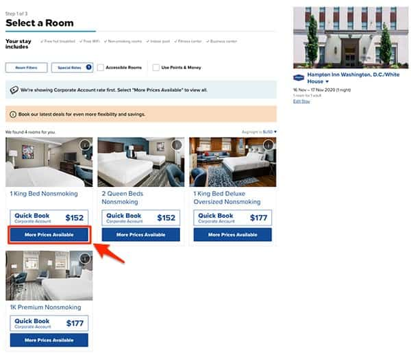 hilton comparing corporate code rates with other rates step 1