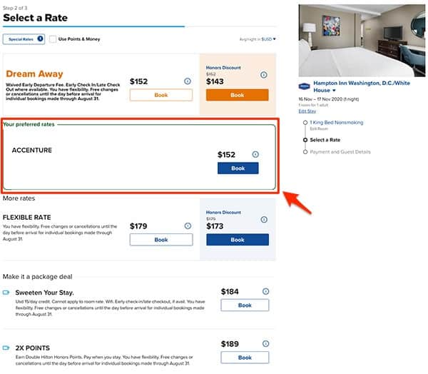 hilton comparing corporate code rates with other rates step 3