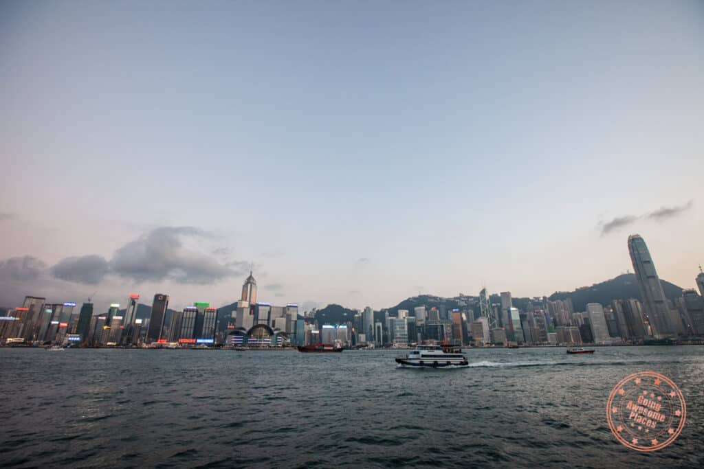 hong kong skyline from kowloon boardwalk in 2 day itinerary
