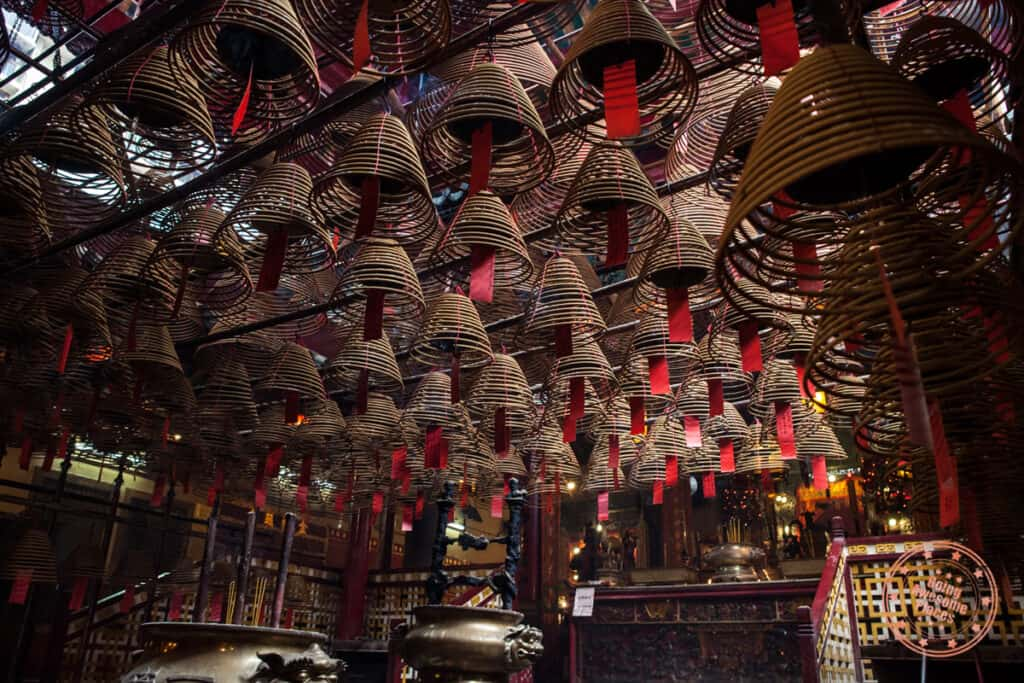 man mo temple interior with spiral incense