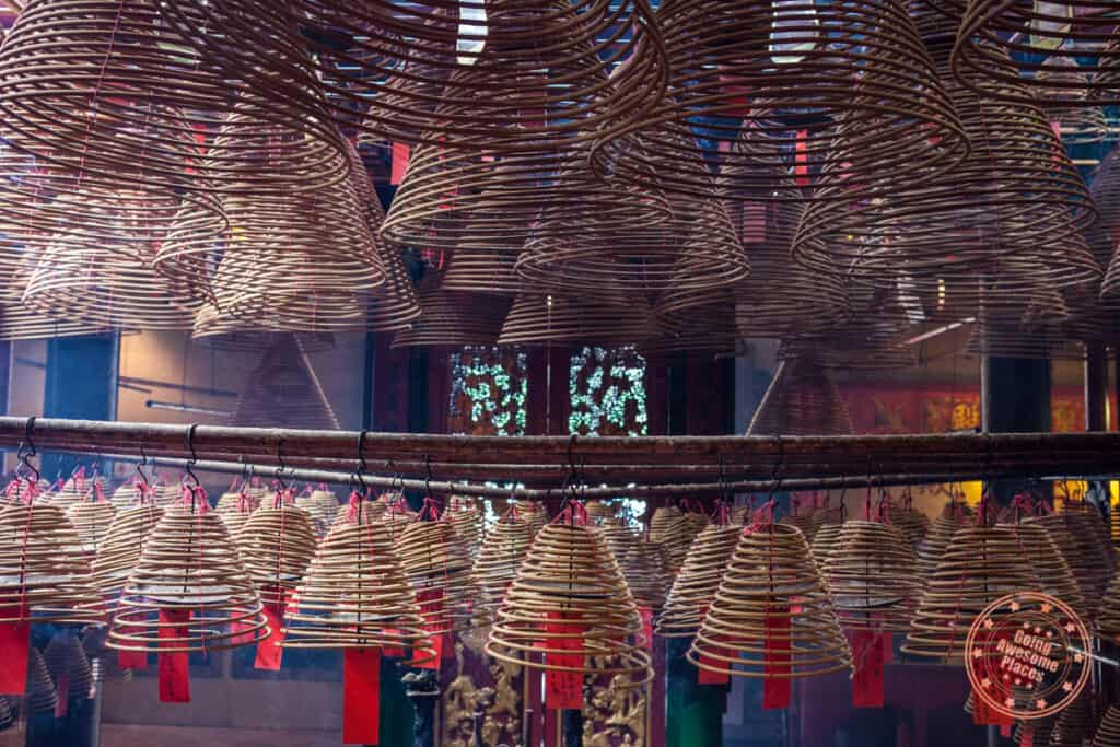 spiral incense at man mo temple in hong kong