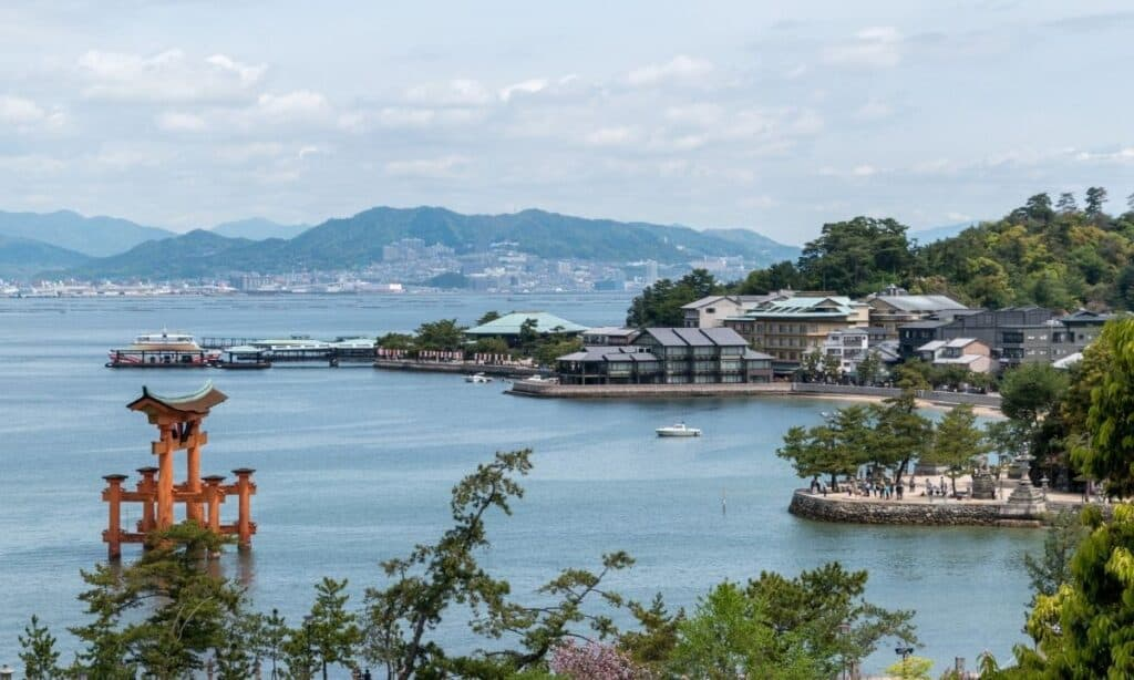 ocean view of famous monument in Hiroshima