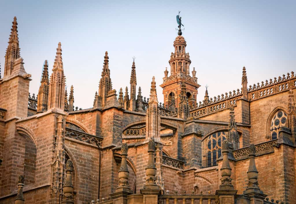Close up view of The Seville Cathedral in Seville, Spain