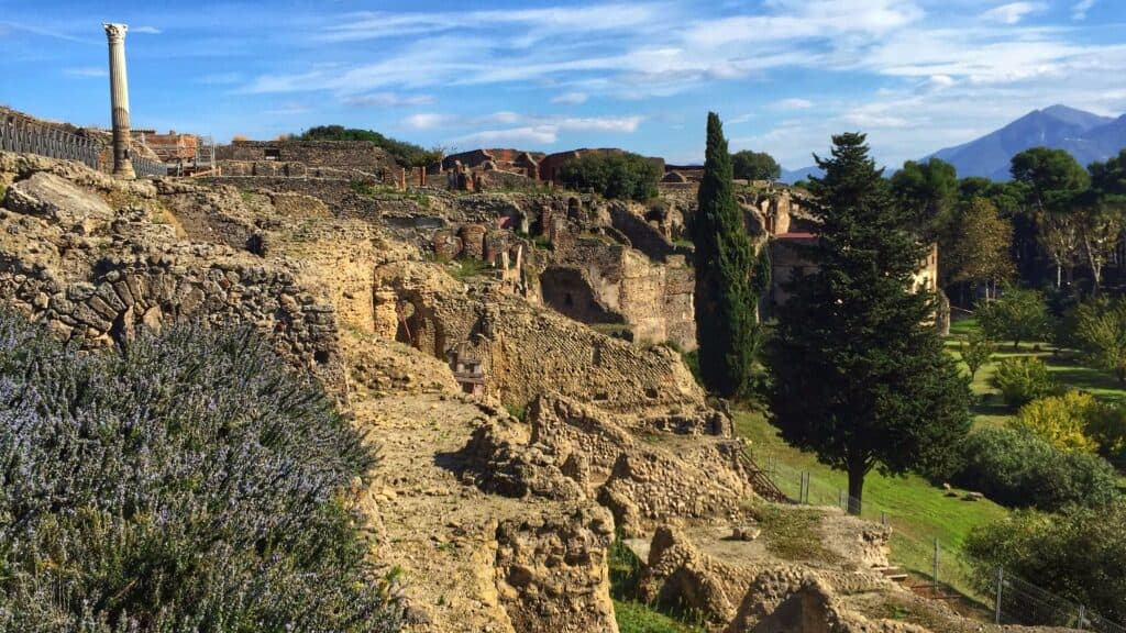 cliff view of the ruins of Pompeii