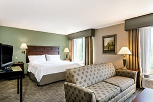 bedroom of the holiday inn express and suites with couch