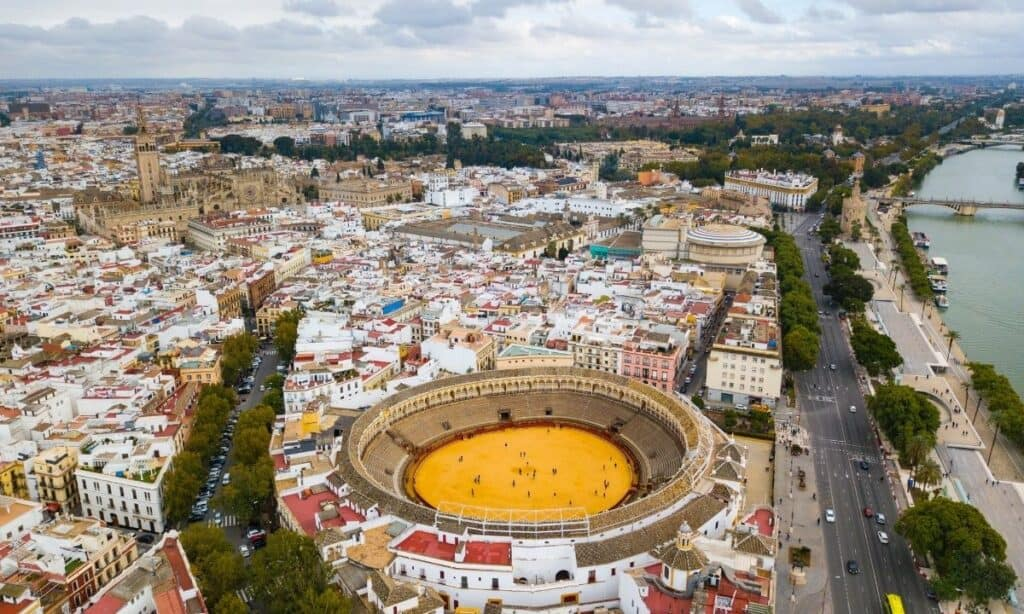 skyview of Seville city with many houses and business in view