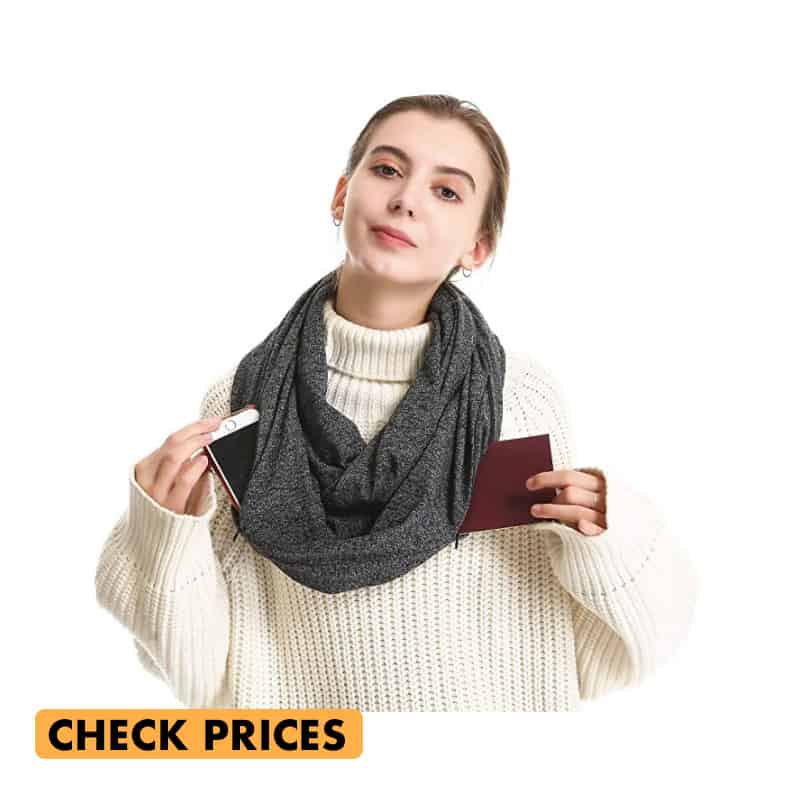 infininty scarf for women with hidden pockets make a great gift for travel lovers
