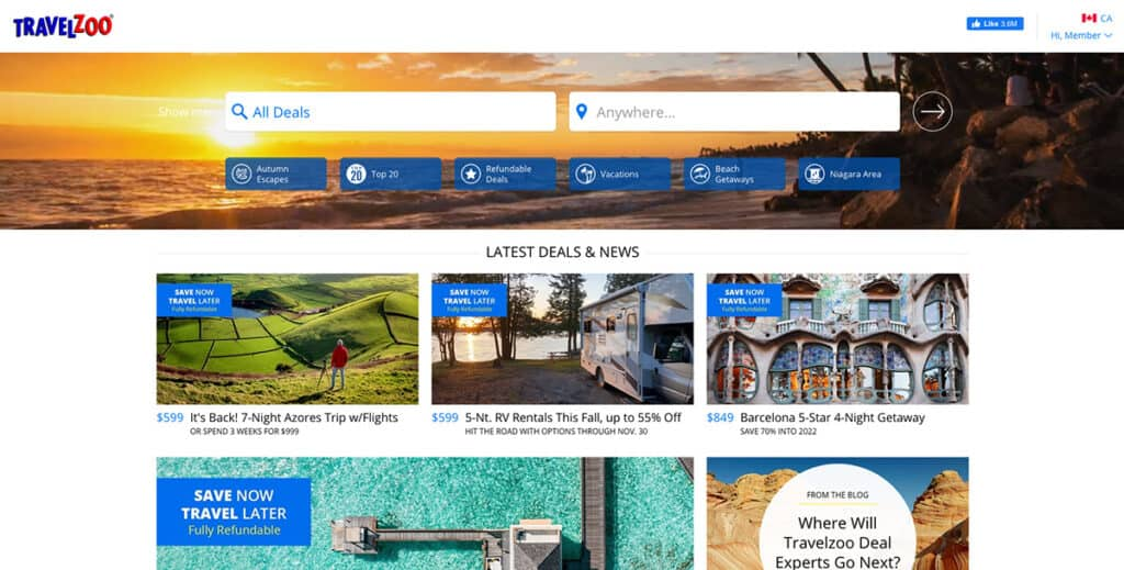 travelzoo homepage website