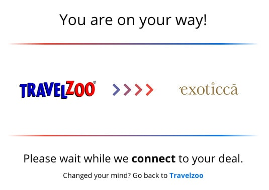 travelzoo redirect page to exoticca example