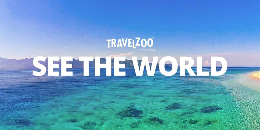 travelzoo see the world logo with beach backround