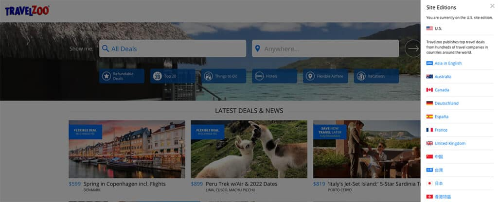 travelzoo operates around the world site edition on website