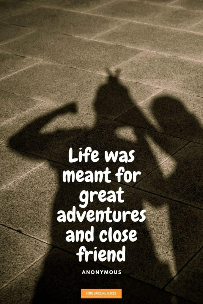 live was meant for great adventures and close friends shadow of joking friends