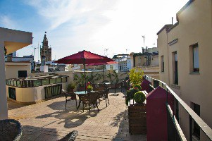 The rooftop patio at Hostal Callejon Del Agua