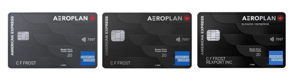 all 3 new american express aeroplan cards laid out side by side