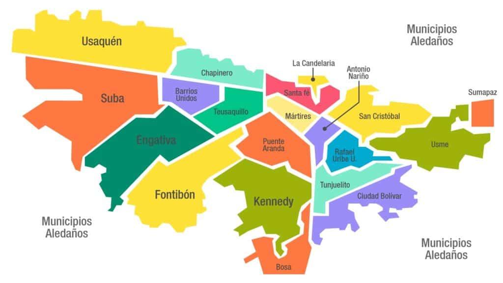 bogota colombia neighbourhoods map
