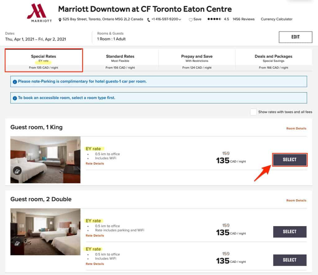 how to enter marriott corporate code step 4