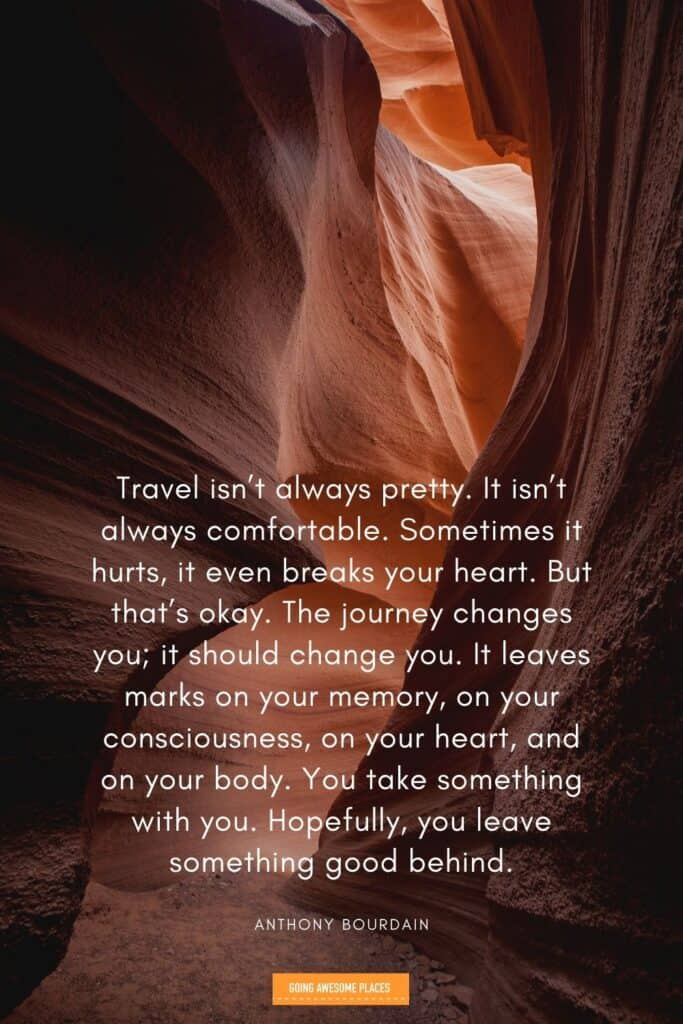 anthony bourdain inspirational travel quote from a famous person with lower antelope canyon
