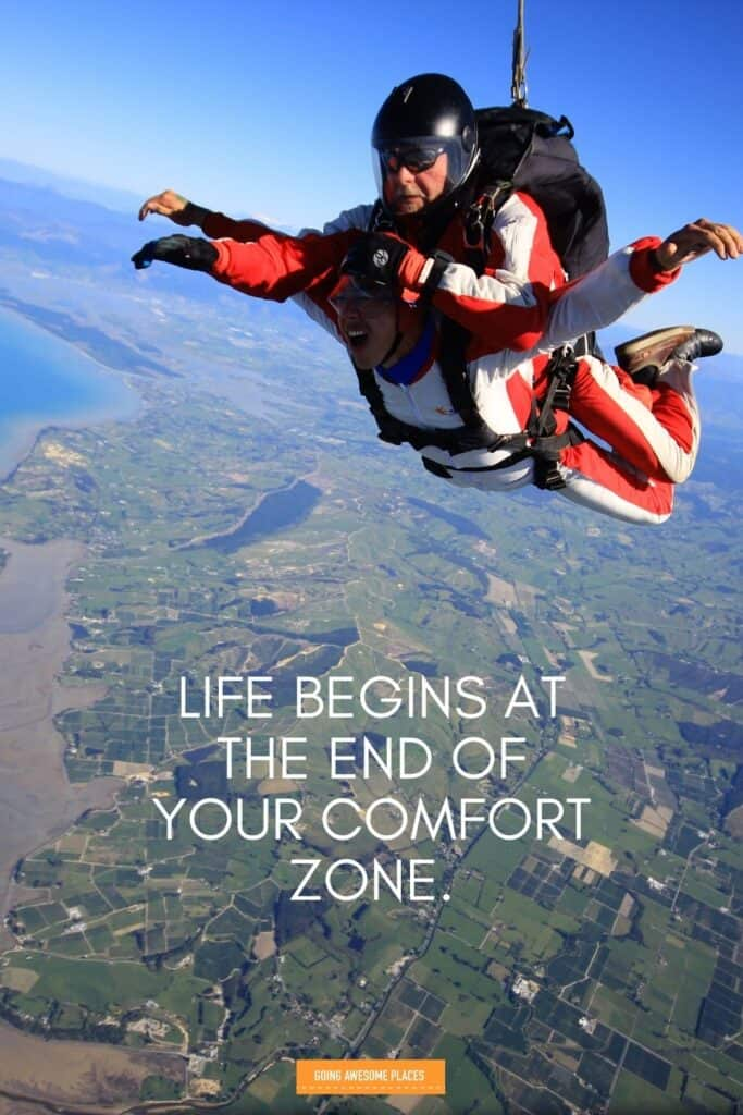 life begins at the end o your comfort zone adventure wanderlust quote