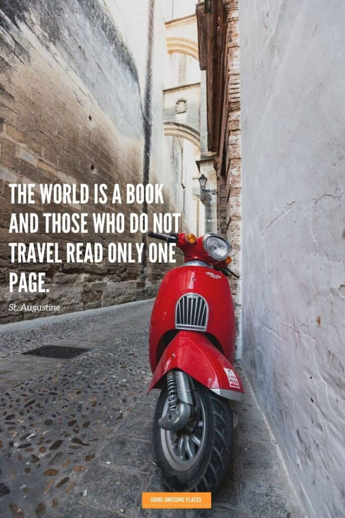 the world is a book by st augustine travel quote with spanish moped