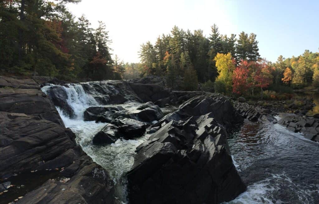 cottage on the muskoka river waterfall for hiking