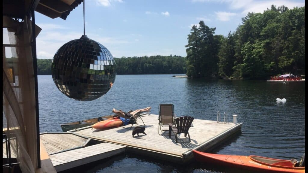 dragonfly on high lake cottage in muskoka dock