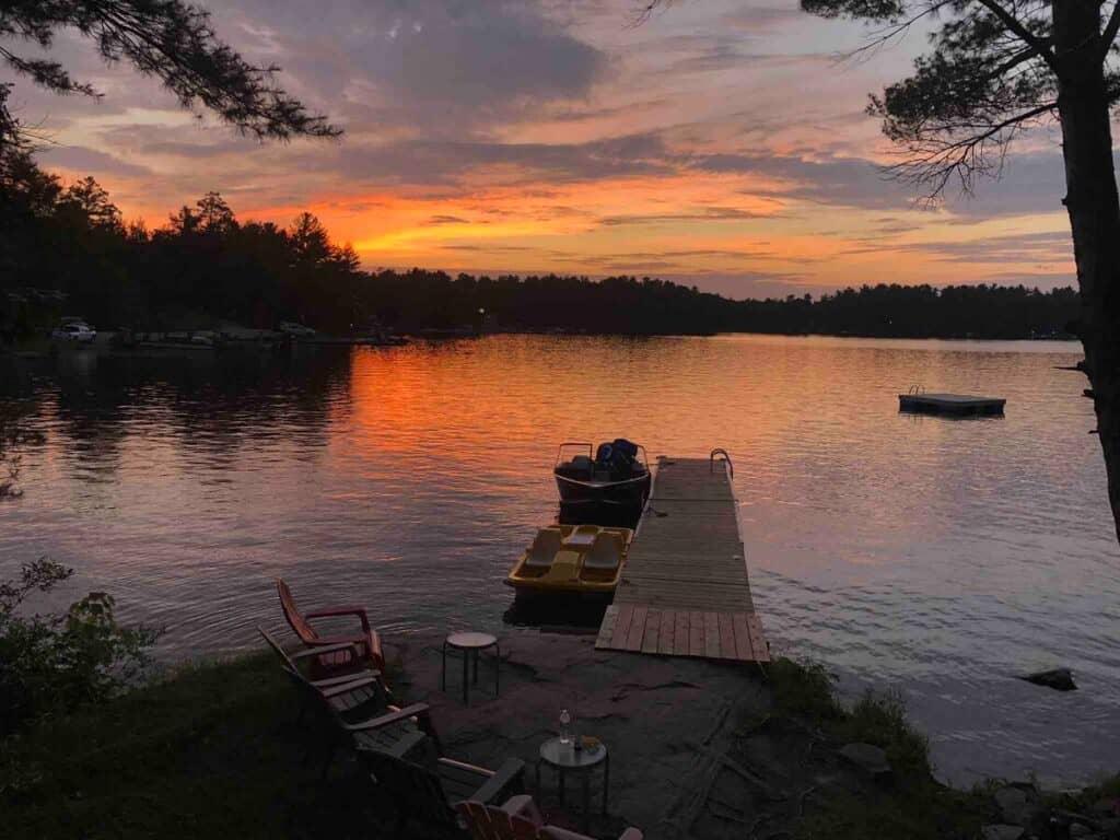 airbnb family muskoka getaway at sunset