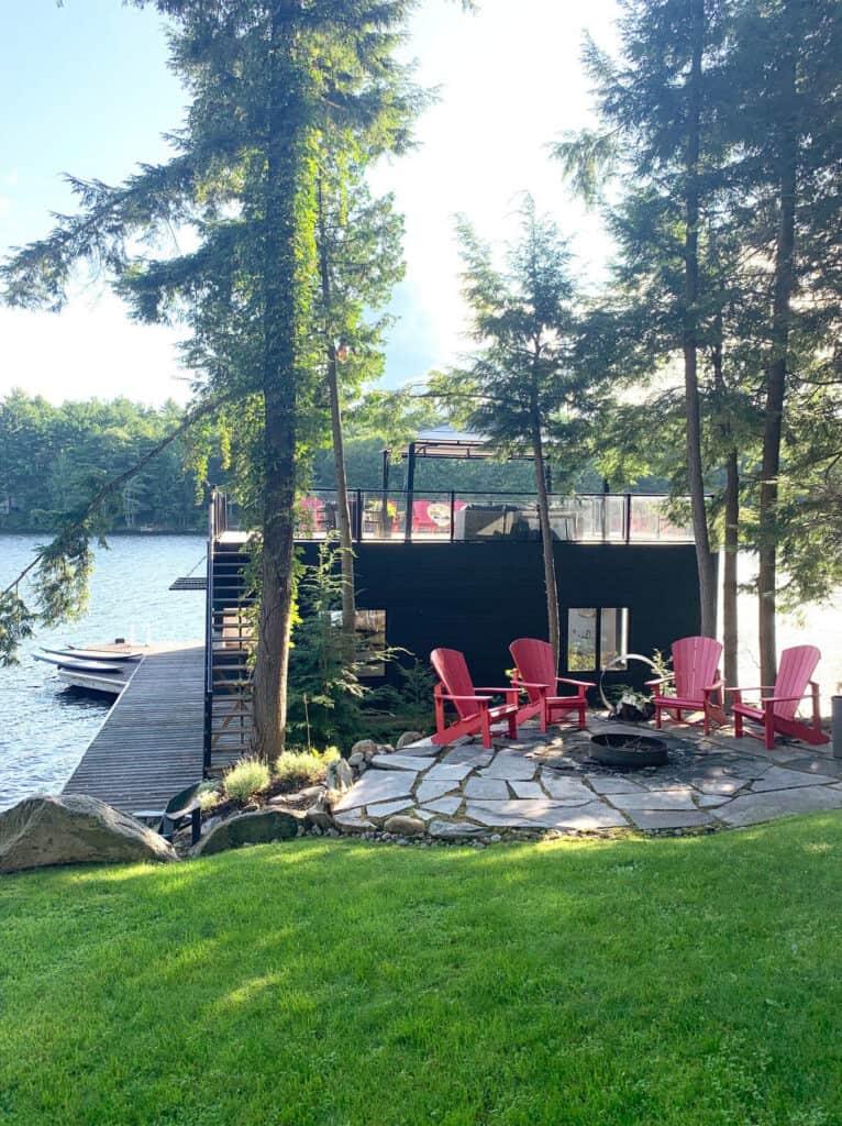 modern lake muskoka cottage boathouse view