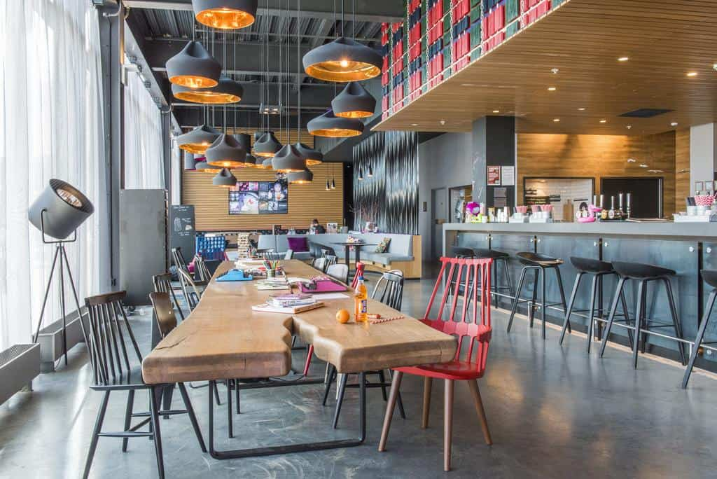moxy aberdeen airport hotel in scotland and its bar and lounge space