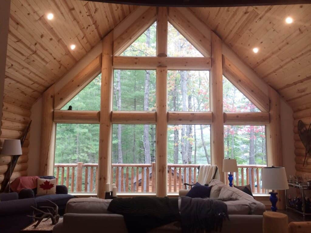 muskoka log cottage on an island on airbnb with view of lake in the interior