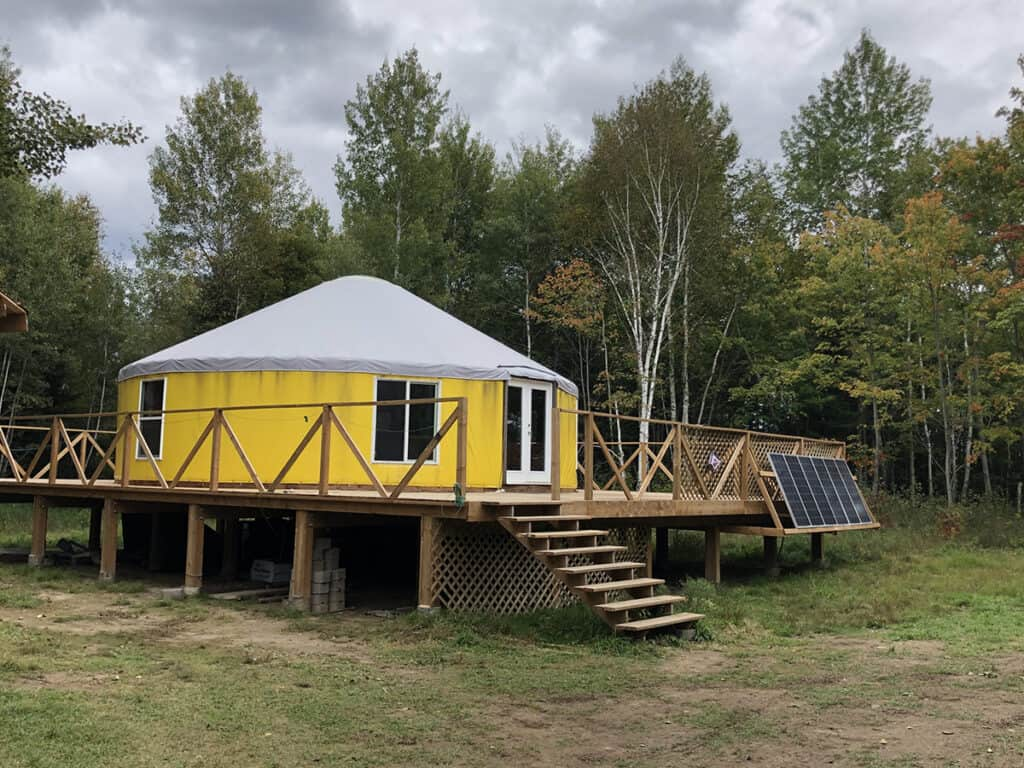 natures harmony pacific yurt exterior in mattawa ontario for a perfect winter getaway