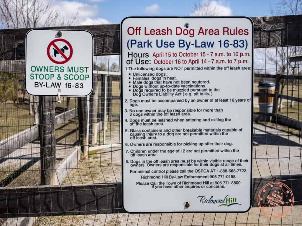 richmond hill parks phyllis rawlinson off-leash dog park rules