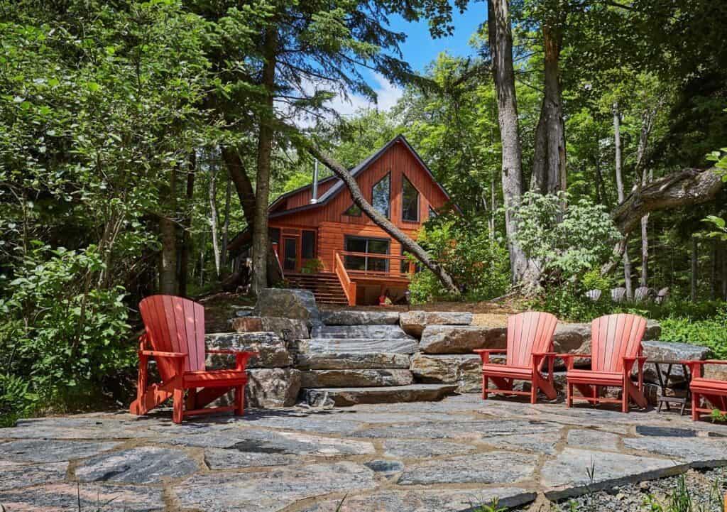 riverside log home airbnb muskoka cottage exterior