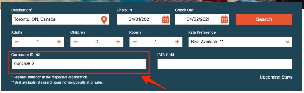 how to enter ihg hotel corporate code on home page with corporate id field